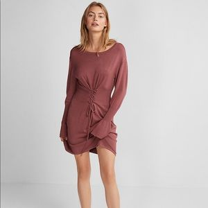Express corset waist sweater dress - mauve